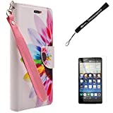 Fashion Design Rainbow Sunflower Wallet Flip Case for LG G Stylo LTE Android Phone + Screen Protector and Hand Strap