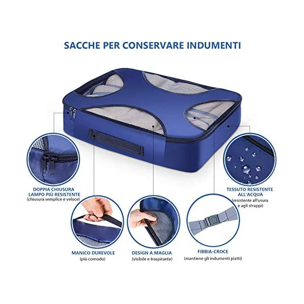 CISHANJIA Organizer Valigie Set di 7 Cubo di Viaggio Cubi di Imballaggio con Contenitore per Cosmetici, Sacca… 3 spesavip