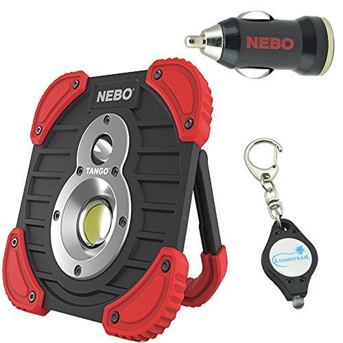 Nebo Tango 6665 1000 Lumen Rechargeable Work Light Bundle with Nebo USB Car Adaptor Plus Bonus Keychain Light by NEBO