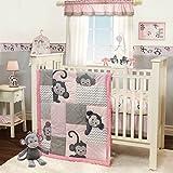 3 Piece Pink Grey Monkey Baby Crib Bedding Set, Animal Themed Newborn Nursery Bed Set Infant Child Animated Cute Jungle Safari Africa Blanket Comforter Polka Dots Zig Zag Pattern, Polyester Cotton