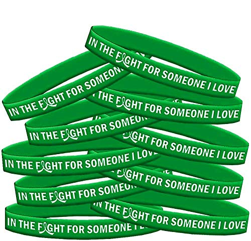 in The Fight for Someone I Love Kidney Disease TBI Mental Health Wristband Bracelet 10-Pack (Green)