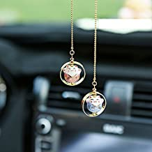 Lucky Cat Car Pendant Chinese Ceramic Car Hanging Ornament Car Interior Decor (Pink&Blue)