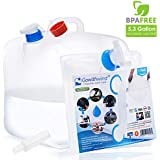 Gowithwind Collapsible Water Container with Spigot, FDA Camping Water Jug, BPA Free Water Storage Bag for Outdoors Hiking & Emergency Survival Hurricane Flood Earthquake, Foldable Portable Canteen