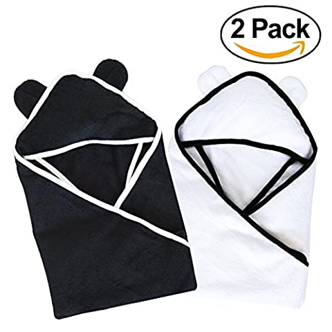 SOFT Hooded Baby Towel (2 PACK BUNDLE) - Crafted from Naturally Soft Organic Bamboo for Sensitive Baby Skin by Moon and (Days Of Glory Daniel)