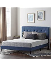 Lucid LUFFCH01UB Upholstered Bed with Square Tufted Headboard
