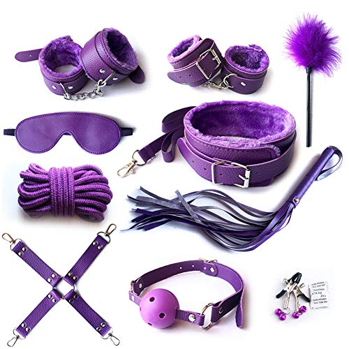 (Mrshen 10 Pieces Sexxx Clothing Intimate Clothing Between Husband and Wife Master Servant Clothing Women Hot Suit PU Leather Kit for Cosplay Restraints Clothes Tie Up Clothes Set (Purple))