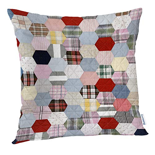 Beautiful Colored Multi (Batmerry Vintage Pillow Covers 18x18 Inch, Beautiful Multicolored Patchwork Quilt Pattern Double Sided Decorative Pillows Cases Throw Pillows Covers)
