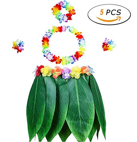 Ti Leaf Green Hula Skirt Artificial Flowers Tropical Hawaiian Luau Grass Skirt with Leaf Leis, Necklaces Bracelets and Headband for Hula Costume and Beach Party