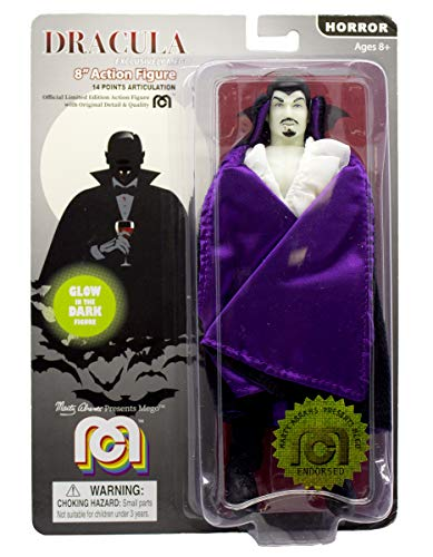 "Mego Action Figures, 8"" New Mego Glow in The Dark Dracula with Purple Cape  (Limited Edition Collector's Item)"