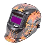 Safstar Auto Darkening Welding Helmet Pro Solar Welder Mask (Fire Pattern)