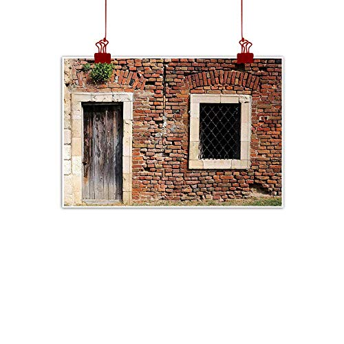 (duommhome Rustic Landscape Painting Old Door and Window Brick Wall Suburban Area European Aged House Entrance Natural Art W35 xL31 Brown Cream Redwood)