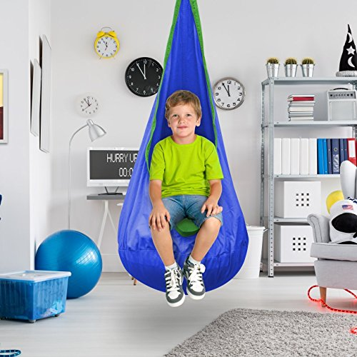 EverKing Child Pod Swing Chair, Hanging Chair Nook Tent for Kids, Hammock Pod Kids Swing, Hanging Seat Hammock Nest for Indoor and Outdoor Use – Hardware Accessories Included (Blue)