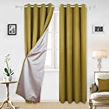 yellow insulated grommet curtains - Deconovo Thermal Insulated Blackout Curtains with Backside Silver Window Treatments Curtains Set for Boys Room 52W x 95L Inch Yellow 2 Panels