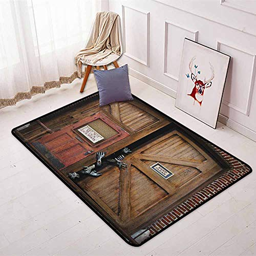 Zombie Non-Slip Absorbent Carpet Monsters Behind Wooden Door Demon Halloween Holiday Fear Fantasy Picture Better underfoot Protection W47.2 x L71 Inch Umber Chestnut Brown -