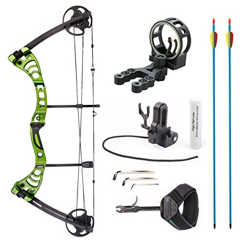 Leader Accessories Compound Bow 30-55lbs Archery Hunting Equipment with Max Speed 296fps (Green/Black With (Diamond Compound Bow)