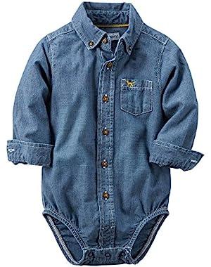 Carter's Baby Boys' Button Front Bodysuit Shirt Chambray (12m, Bllue)