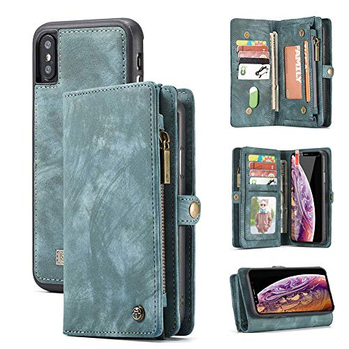 iPhone X iPhone Xs Wallet Case,Zttopo 2 in 1 Leather Zipper Detachable Magnetic 11 Card Slots Card Slots Money Pocket Clutch Cover with Free Screen Protector for 5.8 Inch iPhone Case - (Blue-Green)