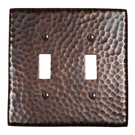 The Copper Factory CF123SN Solid Hammered Copper Double Switch Plate Satin Nickel Finish