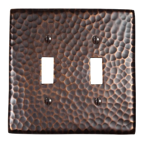 The Copper Factory CF123AN Solid Hammered Copper Double Switch Plate, Antique Copper Finish by The Copper Factory