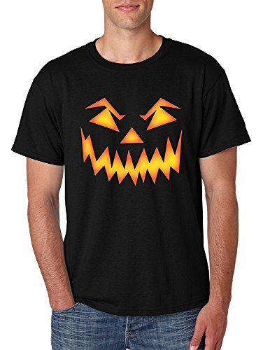 [Allntrends Men's T Shirt Angry Pumpkin Face Cool Halloween Costume Tee (3XL, Black)] (Madeline Halloween Costume Ideas)