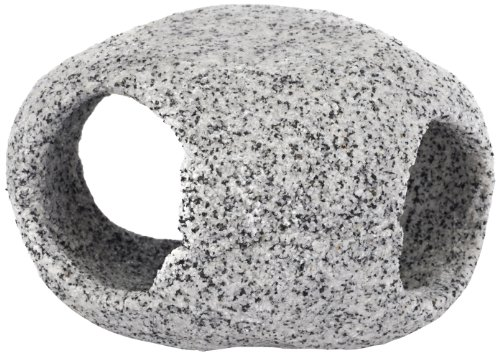 Penn Plax Stone Replica Aquarium Decoration Realistic Granite Look with Fish Hideaway Stackable
