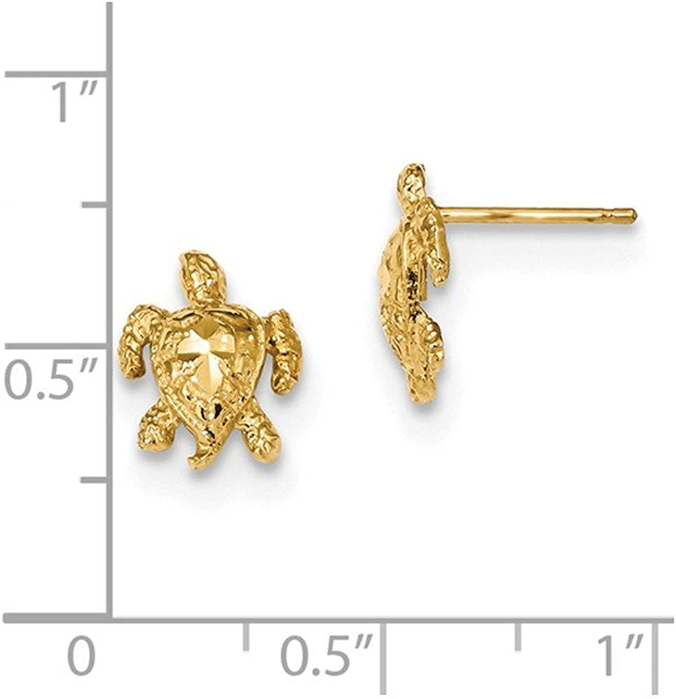Mia Diamonds 14k Yellow Gold Polished Diamond-cut Sea Turtle Post Earrings