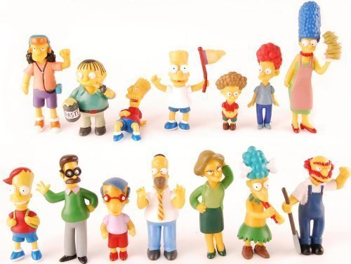 The Simpsons 14 Piece Figure Set Featuring Homer Simpson, Bart Simpson, Ned Flanders, Marge Simpson, Milhouse, Rod Flanders, Todd Flanders, Otto Mann, Ralph Wiggum, Groundskeeper Willie, Mrs. Krabopple, and Sideshow Mel - Figures Range from 2.5