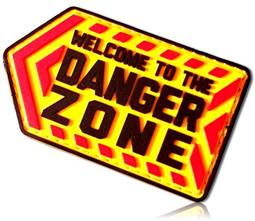 Welcome to The Danger Zone Outlined Left Pointing Sign Warning Arrows Chevron All Caps Capitol Block Letters Alphabet Font Hook & Loop Fastener Patch [3