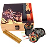 Rasta Design - Large size Sacred Geometry Stash Box with Latch, Grinder & Pop Top Glass Jar Package & Free Accessories…