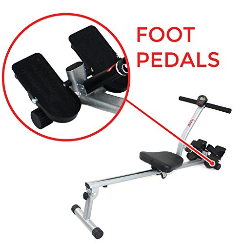 Sunny Health & Fitness SF-RW1205 12 Adjustable Resistance Rowing Machine Rower w/ Digital Monitor