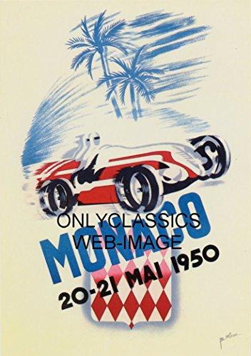 F1 Grand Prix Card - OnlyClassics 1950 MONACO GRAND PRIX FORMULA ONE AUTO RACING 11X17 POSTER VINTAGE F1 ART GRAPHICS