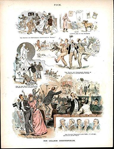 College Process Hazing Practical Jokes Wild 1891 antique color lithograph print