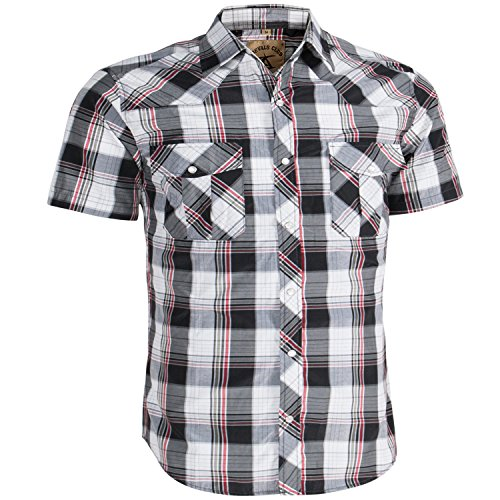 (Coevals Club Men's Casual Plaid Snap Front Short Sleeve Shirt (White / red #18, L))