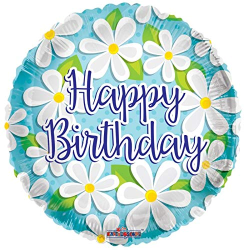 Happy Birthday White Daisies 18'' Mylar Balloon ()