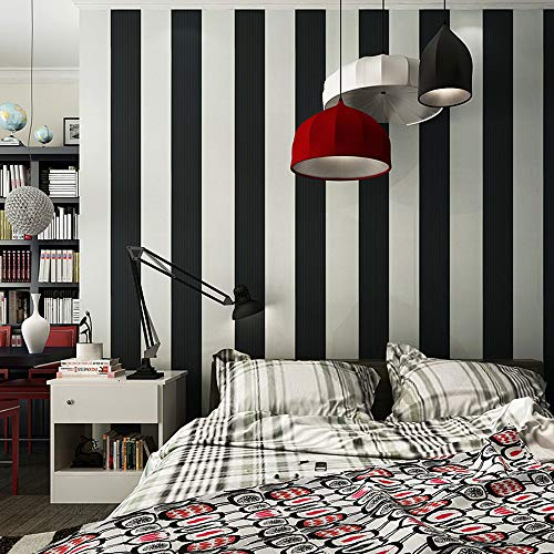 Modern Stripe Wallpaper (Blooming Wall: Modern Fashion Black&white Stripes Textured Wallpaper Wall Mural Wallpaper Wall Paper Roll, 20.8 In32.8 Ft=57 Sq.ft)