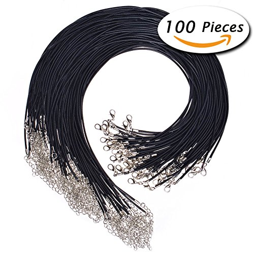 Paxcoo 100Pcs Black Waxed Necklace Cord with Clasp Bulk for Bracelet Necklace and Jewelry Making (20 Inches) (Black Waxed Leather)