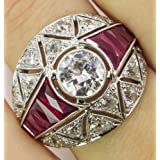 by lucky Women Men Fashion Jewlery 925 Silver Round White Sapphire Party Anniversary Ring (10)