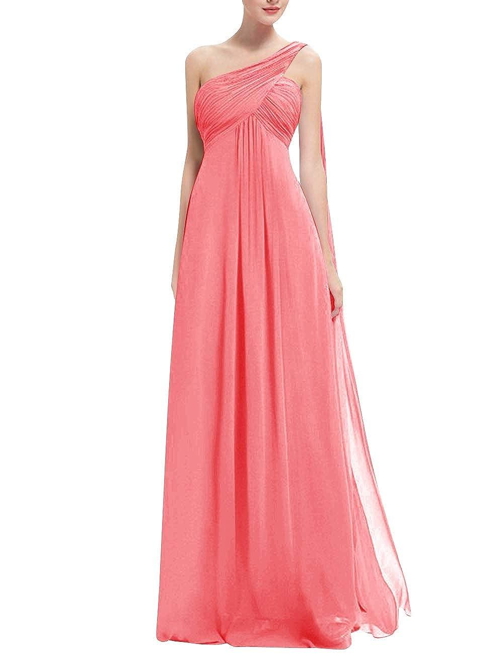 Bess Bridal Womens One Shoulder High Waist Watteau Train Prom Bridesmaid Dress