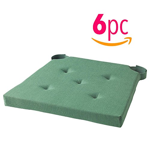 _IKEA Set of 6 Chair Cushion/Pad with soft foam filling will make even the most restless feel relaxed at the table. Several colors to choose from. (Green)