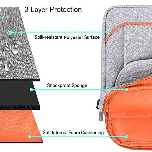 MOSISO Notebooktasche für 13-13,3 Zoll MacBook Pro, MacBook Air, Notebook Computer mit zwei vorderen Schnellverschluss, Wasserresistente Laptop Schultertasche Schutzhülle Hülle Sleeve Umhängetasche mi Grau und Orange