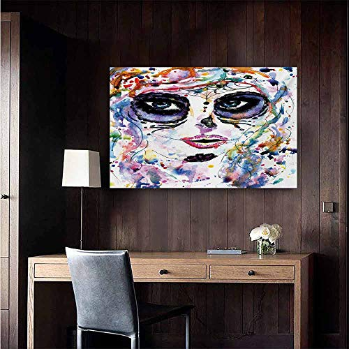 duommhome Sugar Skull Simulation Oil Painting Halloween Girl with Sugar Skull Makeup Watercolor Painting Style Creepy Look Decorative Painted Sofa Background Wall 32