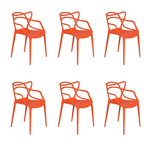 Cheap Giantex Set of 6 Dining Chairs Masters Modern Design Armchair Indoor Outdoor Stackable (Orange)