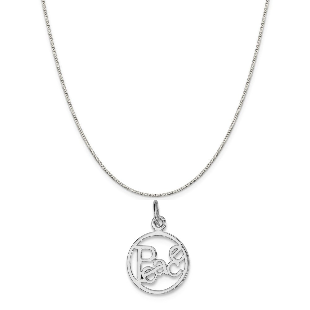 Mireval Sterling Silver Peace Circle Charm on a Sterling Silver Chain Necklace 16-20