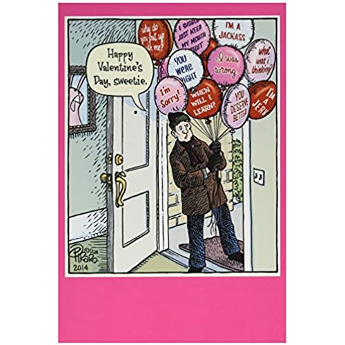 NobleWorks 2216 Sorry Balloons Funny Valentine's Day Unique Greeting Card, 5 x 7 Sales