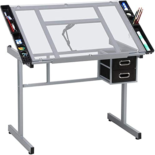 Yaheetech Drafting Table Drawing Desk Art Desk Table Art Artist Craft Station Study Table Tempered Glass Top w 2 Slide Rolling Wheels and Drawers