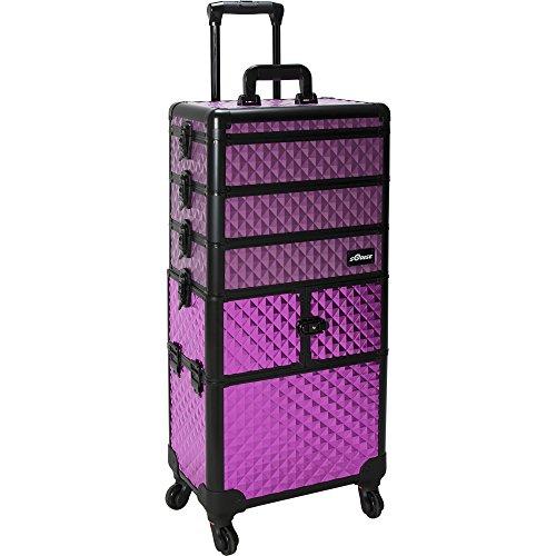Sunrise Porto 2-In-1 Rolling Makeup Case Professional Nail Travel Organizer Box, Purple Diamond, 25 Pound by SunRise