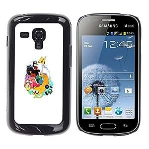 Caucho caso de Shell duro de la cubierta de accesorios de protección BY RAYDREAMMM - Samsung Galaxy S Duos S7562 - King Penguin Princess Cartoon Art Character
