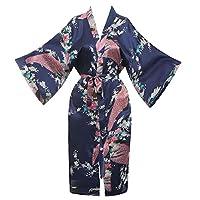 cbbc3c6c9e Missfashion Women s Kimono Robe Peacock   Blossoms Satin Nightwear Long
