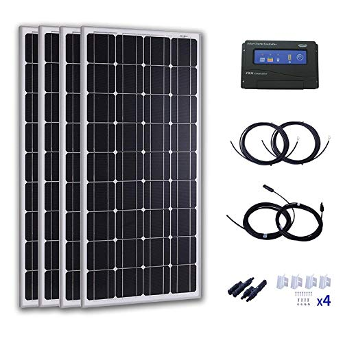 (Komaes 400 Watts 24 Volts Monocrystalline Solar Starter Kit with 20A PWM Charge Controller + 20ft Tray Cable + 20ft MC4 Connectors + Mounting Z Brackets)