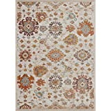 "Ladole Rugs TMS13166 Timeless Collection Venice Marigold Ornamental Area Rug Carpet in Cream, 8x11, 7'10"" x 10'5"", Cream"